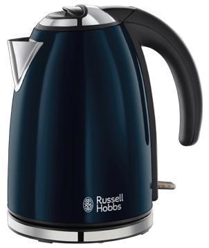 Russell Hobbs 18947-70 Colours, Royal Blue электрочайник18947-70Добавьте больше цвета на вашу кухню с чайником Colours Royal Blue. Стильный, изящный чайник, выполеннный в лакированном корпусе королевского синего цвета с полированными акцентами и тиснением логотипа Russell Hobbs безусловно добавит совеременную элегантность на вашу кухню. Объем 1.7 литра, приготовление до шести чашек, этого будет достаточно для всей семьи или офисной кухни. Поворотное основание 360° будет комфортным для пользования чайником левой или правой рукой. Встроенный отсек для хранения шнура избавит от лишних проводов и будет удобен при хранении чайника.