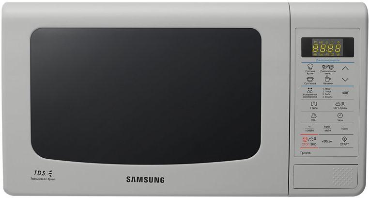 Samsung GE83KRS-3/BW СВЧ-печьGE83KRS-3/BWБольшинство покупателей хочет, чтобы их микроволновая печьобладала большой вместительностью, но в то же время была компактной. Повысоте и ширине данная модель не отличается от 20-литровой,глубина печи увеличилась всего на 12 мм, за счет чего внутреннийобъем стал на 3 литра больше. Расширилась и полезная площадь камеры:теперь в печи могут с легкостью уместиться блюда до 388 мм вдиаметре. Во всех микроволновых печах Samsung, используетсяБИОкерамическое покрытие камеры. Этот материал экологически безопасен, еголегко очищать от загрязнений. Он в 10 раз более устойчив кцарапинам, чем, например, нержавеющая сталь. Покрытие прочное игладкое, на нем почти не остается нагара. БИОкерамика обладает низкойтеплопроводностью, это сокращает время приготовления и уменьшаеттеплопотери. Кроме того, БИОкерамическое покрытие обладает ещеодним полезным свойством — материал препятствует размножениюбактерий на 99,9%.