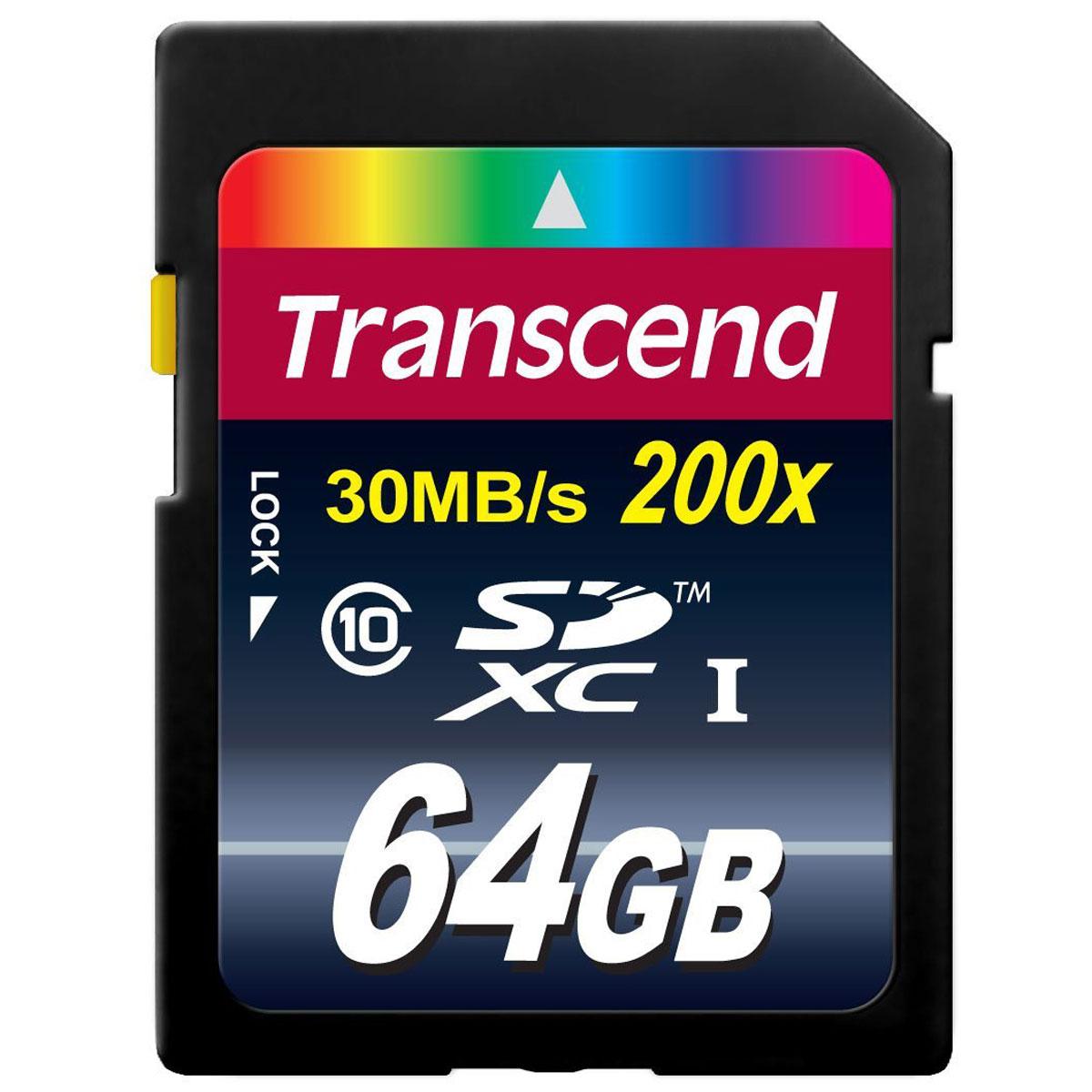 Transcend SDXC Class 10 64GB карта памятиTS64GSDXC10Карты памяти Transcend увеличенной емкости формата SDXC позволяют хранить поистине огромный объем информации - до 128 ГБ! Высокая скорость доступа Class 10 обеспечивает необходимые условия для использования SDXC в современных фото- и видеокамерах, особенно для записи серий снимков и FullHD-контента.Внимание: перед оформлением заказа убедитесь в поддержке вашим электронным устройством карт памяти данного объема.