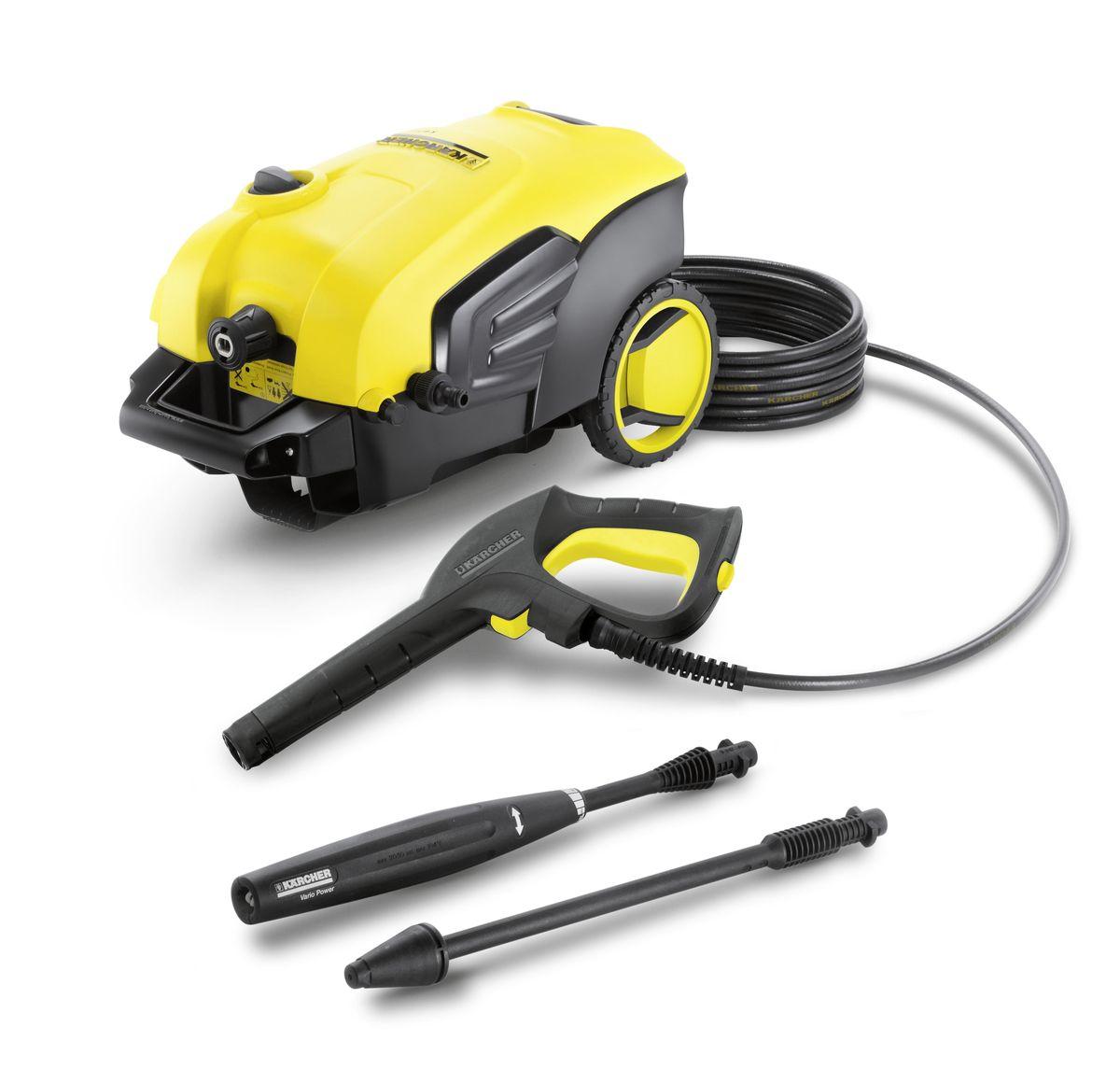 Мойка высокого давления Karcher K 5 Compact, цвет: желтый, черный1.630-720.0Мойка высокого давления Karcher K 5 Compact подходит для эффективной очистки умеренно загрязненных автомобилей, велосипедов и фасадов домов. Она оснащена мощным двигателем водяного охлаждения, а в комплект поставки входят пистолет с разъемом Quick Connect, 8-метровый шланг высокого давления, струйная трубка Vario Power и грязевая фреза. Водяной фильтр надежно защищает насос двигателя от повреждения. Шланг высокого давления быстро и легко присоединяется к мойке и отсоединяется от нее, что экономит время и силы. Большие колеса и эргономичная ручка, устанавливаемая на оптимальной высоте, облегчают перемещение. Мойка высокого давления оснащена встроенной системой всасывания чистящего средства. Практичная система забора воды позволяет снабжать мойку водой из альтернативных источников, например из бочки или цистерны. Удобные и надежные аппараты высокого давления серии Сompact имеют две ручки для транспортировки, чтобы можно было брать минимойку...