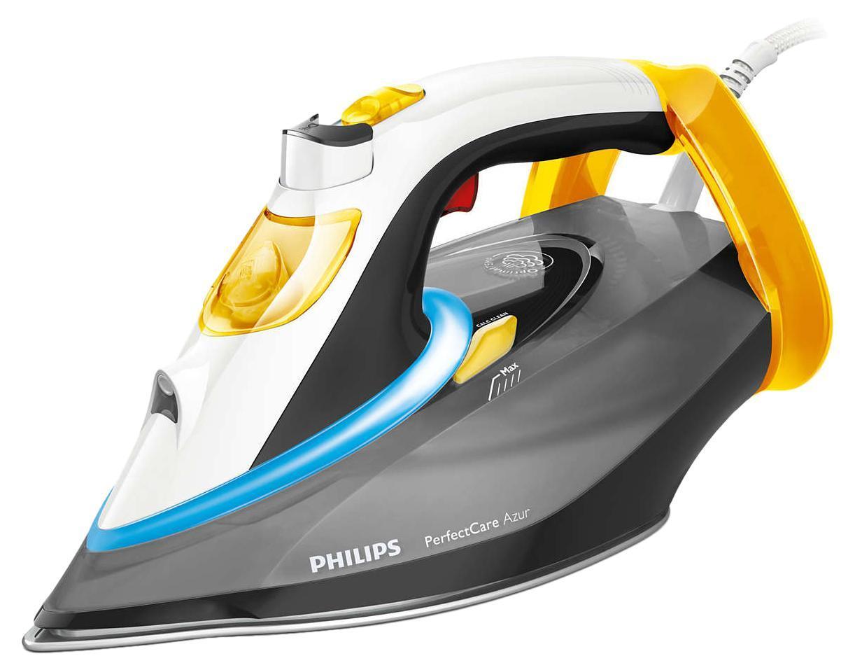 Philips GC4922/80 PerfectCare Azur утюгGC4922/80Philips GC4922/80 Утюг PerfectCare Azur 2600Вт,п/п 50 г/мин,п/у 200 г,под.T-ionicGLIDE,автооткл.,двойн.очист.от накипи