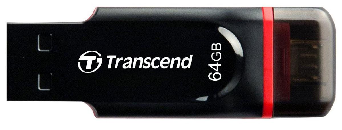 Transcend JetFlash 340 64GB, Black USB-накопительTS64GJF340Позволяет с легкостью обмениваться файлами владельцам мобильных устройств. Флэш-накопитель Transcend JetFlash 340 USB OTG не только позволит расширить встроенную память мобильного устройства под управлением ОС Android, но и максимально упростит и облегчит обмен персональными коллекциями медиафайлов. Два интерфейса - в два раза удобнее: Благодаря двум встроенным интерфейсам флэш-накопитель JetFlash 340 USB OTG (USB On-The-Go) изменит ваше представление о хранении, обмене и переносе цифровых данных. Он способен выполнять роль миниатюрного жесткого диска для мобильных устройств и, при этом, не требует использования дополнительных кабелей. Лаконичный дизайн. Удобная форма корпуса: Флэш-накопители JetFlash 340 с поддержкой технологии USB OTG отличаются лаконичным дизайном и удобной формой корпуса, который прекрасно ложится в руку, что позволяет с легкостью подключать и отключать устройство. Обменивайся данными в дороге: ...