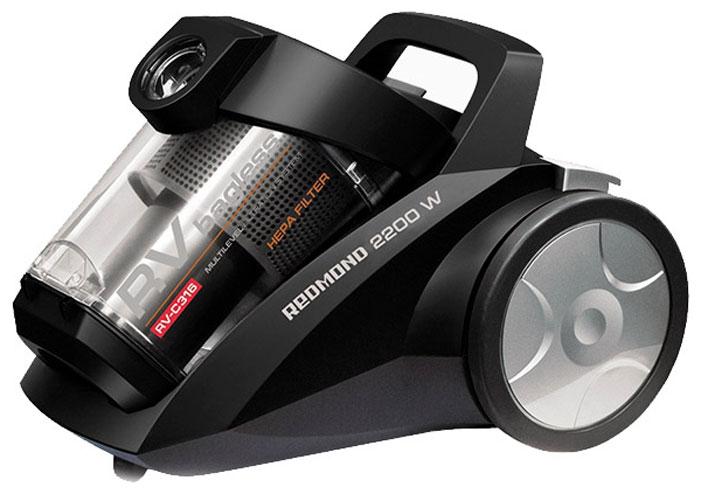 Redmond RV-С316, Black пылесосRV-С316 BlackRedmond RV-С316 — современный бытовой пылесос контейнерного типа. Двойная циклоническая система фильтрации обеспечивает постоянную мощность всасывания на протяжении всей уборки, а фильтр тонкой очистки воздуха на выходе задерживает мельчайшие частицы, которые могут вызывать аллергические реакции у чувствительных к пыли людей. На корпусе прибора расположен регулятор, который позволяет установить оптимальную мощность всасывания, благодаря чему вы можете как тщательно пропылесосить места, требующие глубокой очистки (ковры, напольные покрытия в домах с животными), так и бережно очистить предметы интерьера, требующие деликатного ухода (шторы, абажуры). Пластиковый контейнер для пыли легко снимается и чистится — больше никаких хлопот со сменными мешками.