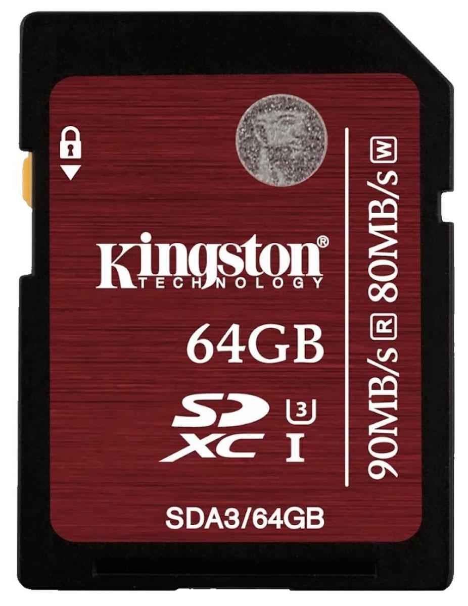 Kingston SDXC Class 10 UHS-I U3 64GB карта памятиSDA3/64GBВоспользуйтесь преимуществами увеличенной скорости работы карт памяти SDXC Class 10 UHS-I U3 компании Kingston. Они поддерживают скорость 90 МБ/с (чтение) и 80 МБ/с (запись), благодаря чему операции чтения и записи выполняются до 9 и 8 раз быстрее, чем при использовании стандартных карт памяти SD (Class 10). Они соответствуют самой современной версии спецификации SD Association UHS-I U3 (Ultra High-Speed Bus, Speed Class 3), которая гарантирует производительность не менее 30 МБ/с и полосу пропускания, достаточную для записи и воспроизведения видео 4K / 2K без задержек.Пользователи смогут записывать видео формата Full HD (1080p), Ultra HD (2160p), 3D и 4K / 2K кинематографического качества с помощью высокопроизводительных камер, таких как цифровые зеркальные камеры (D-SLR), беззеркальные цифровые камеры (D-SLM) и видеокамеры. Карты памяти идеально подходят для записи телевизионных передач, а также прямых эфиров; кроме того, они позволяют ускорить редактирование файлов и обеспечивают снижение времени загрузки, особенно при использовании устройств чтения с интерфейсом USB 3.0. Повышенные минимальные скорости записи гарантируют целостность видео благодаря снижению задержек и позволяют фотографам делать серии снимков.Карты памяти Kingston SDXC Class 10 UHS-I U3 имеют емкость 32 ГБ, 64 ГБ, 128 ГБ и 256 ГБ, что обеспечивает возможность длительной записи видео и съемки фотографий высокого разрешения (таких как RAW или JPEG) без замены карт памяти. Они также имеют пожизненную гарантию, бесплатную техническую поддержку и отличается легендарной надежностью Kingston.