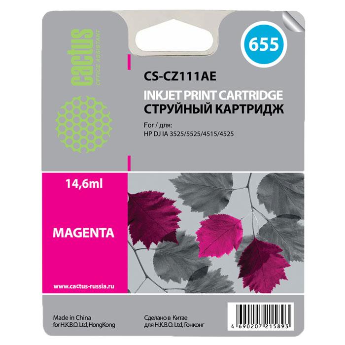 Cactus CS-CZ111AE, Magenta струйный картридж для принтеров HP DJ IA 3525/5525/4515/4525CS-CZ111AEКартридж Cactus CS-CZ111AE для струйных принтеров HP. Расходные материалы Cactus для печати максимизируют характеристики принтера. Обеспечивают повышенную четкость изображения и плавность переходов оттенков и полутонов, позволяют отображать мельчайшие детали изображения. Обеспечивают надежное качество печати.