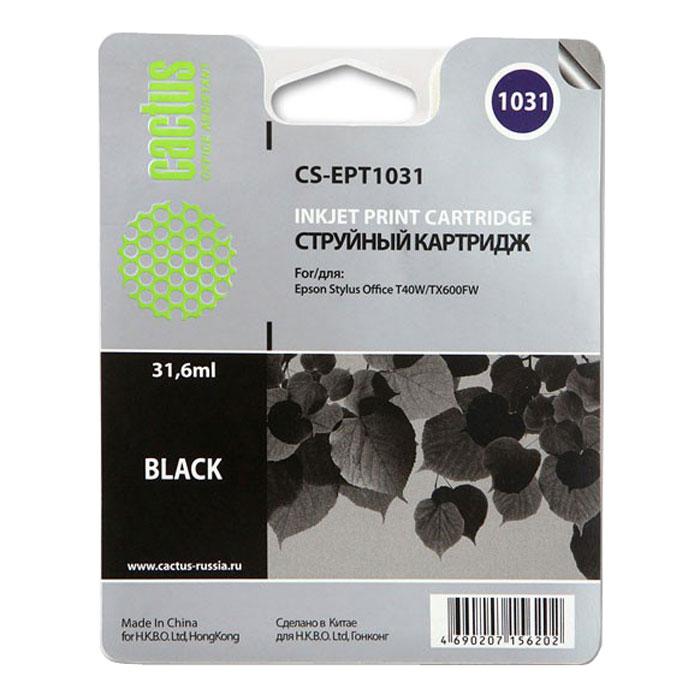 Cactus CS-EPT1031, Black струйный картридж для Epson Stylus Office T40/T40w/TX600/TX600fwCS-EPT1031Картридж Cactus CS-EPT1031 для струйных принтеров Epson. Расходные материалы Cactus для монохромной печати максимизируют характеристики принтера. Обеспечивают повышенную чёткость чёрного текста и плавность переходов оттенков серого цвета и полутонов, позволяют отображать мельчайшие детали изображения. Обеспечивают надежное качество печати.
