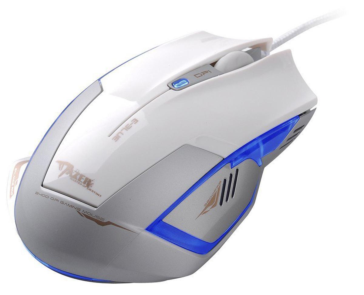 E-Blue EMS124 Mazer Type-R, White игровая мышьEMS124WHКомпьютерная оптическая мышь E-Blue EMS124 Mazer Type-R - идеальный выбор для геймеров. Эргономичный дизайн устройства создан для максимально удобной работы правой рукой. Сверхчувствительный оптический сенсор Red Wave с настройками от 600 до 2400 dpi обеспечивает максимальную точность и быстроту отклика. Разрешение также можно выбрать при помощи полупрозрачной кнопки в центре устройства. Дополнительное удобство обеспечивают кнопки Backward и Forward, а также освещаемые зоны, которые при подключении устройства к компьютеру создадут неповторимую игровую атмосферу, особенно если вы играете в темноте.