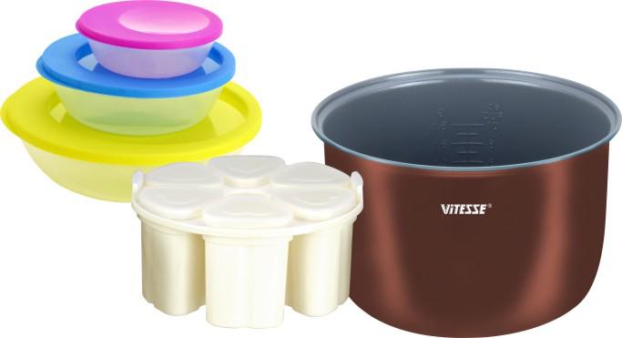 Vitesse VS-580 набор для мультиваркиVS-580 (12)В набор для мультиварки входит:Сменная чаша для мультиварки:Толщина стенок 1,8 ммВнешнее термостойкое покрытиеВнутреннее керамическое покрытие Eco-CeraЦвет: МедныйОбъем чаши: 4 лРазмер (ВхШ): 13 см х 24 см Набор для приготовления йогурта:Емкость стаканчика - 200 мл6 стаканчиков = 6 йогуртов с разным вкусом одновременноКрышечки стаканчиков для хранения йогурта в холодильникеПодставка для равномерного размещения стаканчиков в чаше (обеспечивает оптимальную микросреду для приготовления йогурта) Набор контейнеров для хранения (3 шт.):Емкость - 1125 мл, 538 мл, 196 млМожно использовать в микроволновой печи, морозильной камереМожно мыть в посудомоечной машинеЧаша из набора VS-580 подходит для мультиварок: VS-513, VS-517, VS-520, VS-521, VS-576, VS-577, VS-578, VS-582, VS-586, VS-592, VS-594, VS-599Чаша из данного набора не подходит для использования в скороварках