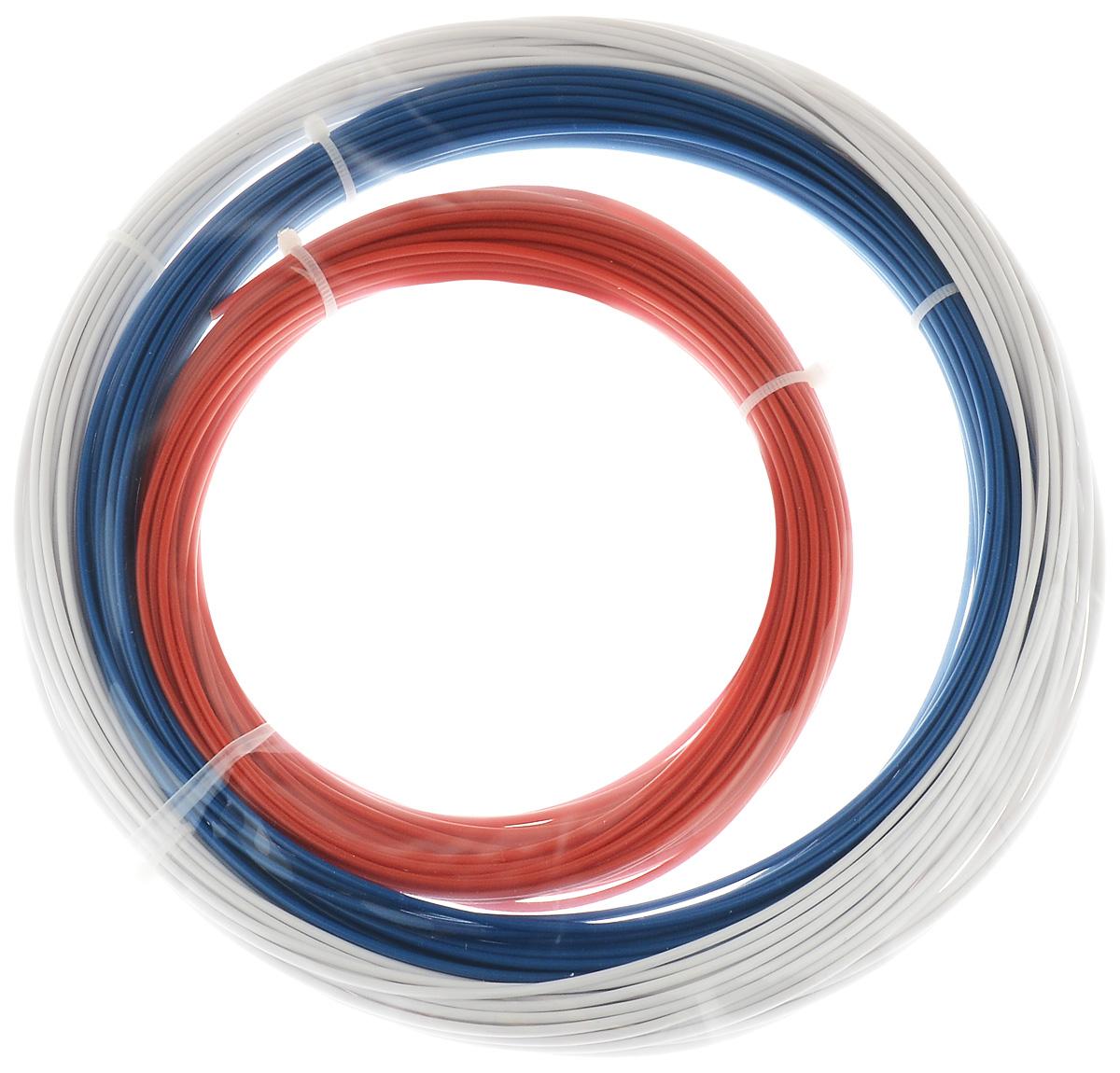 ESUN 3D Filament, Red White Blue комплект ABS-пластика, 10 мУТ000006724ESUN 3D Filament - комплект ABS-пластика для 3D печати, состоящий из трех цветов. Толщина пластика составляет 1,75 мм. Длина каждого мотка - 10 метров.