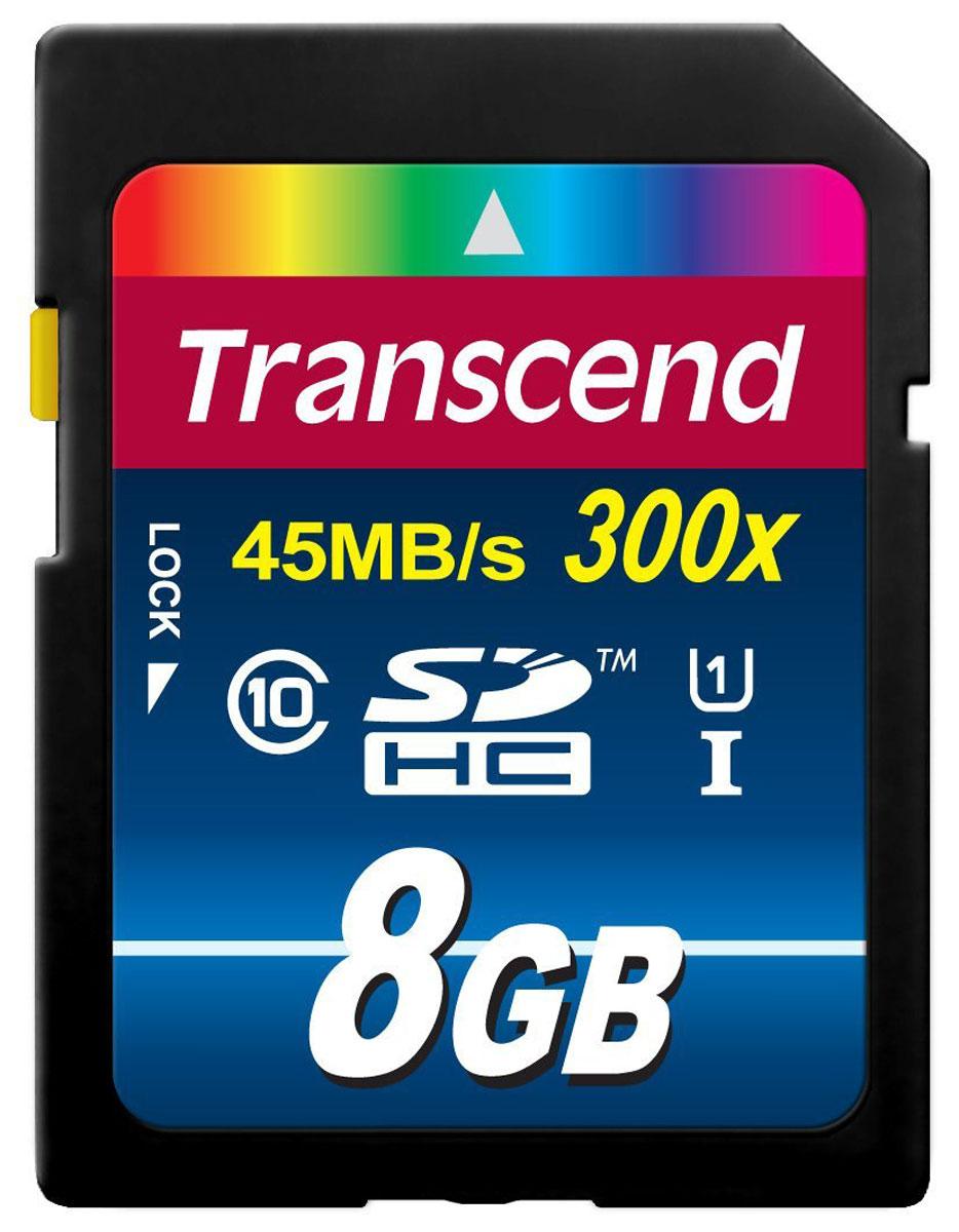 Transcend Premium SDHC Class 10 UHS-I 300x 8GB карта памятиTS8GSDU1Карта памяти Transcend Class 10 SDHC Ultra High Speed поддерживает как впечатляющую спецификацию Class 10, так и USH-I, которая обеспечивает значительный прирост быстродействия. Всё это позволит полностью раскрыть потенциал вашей цифровой камеры. При работе вместе с UHS-I совместимыми устройствами карта памяти передаёт данные с молниеносной скоростью, что идеально подходит для высокоскоростной последовательной съёмки и плавной записи Full HD видео.