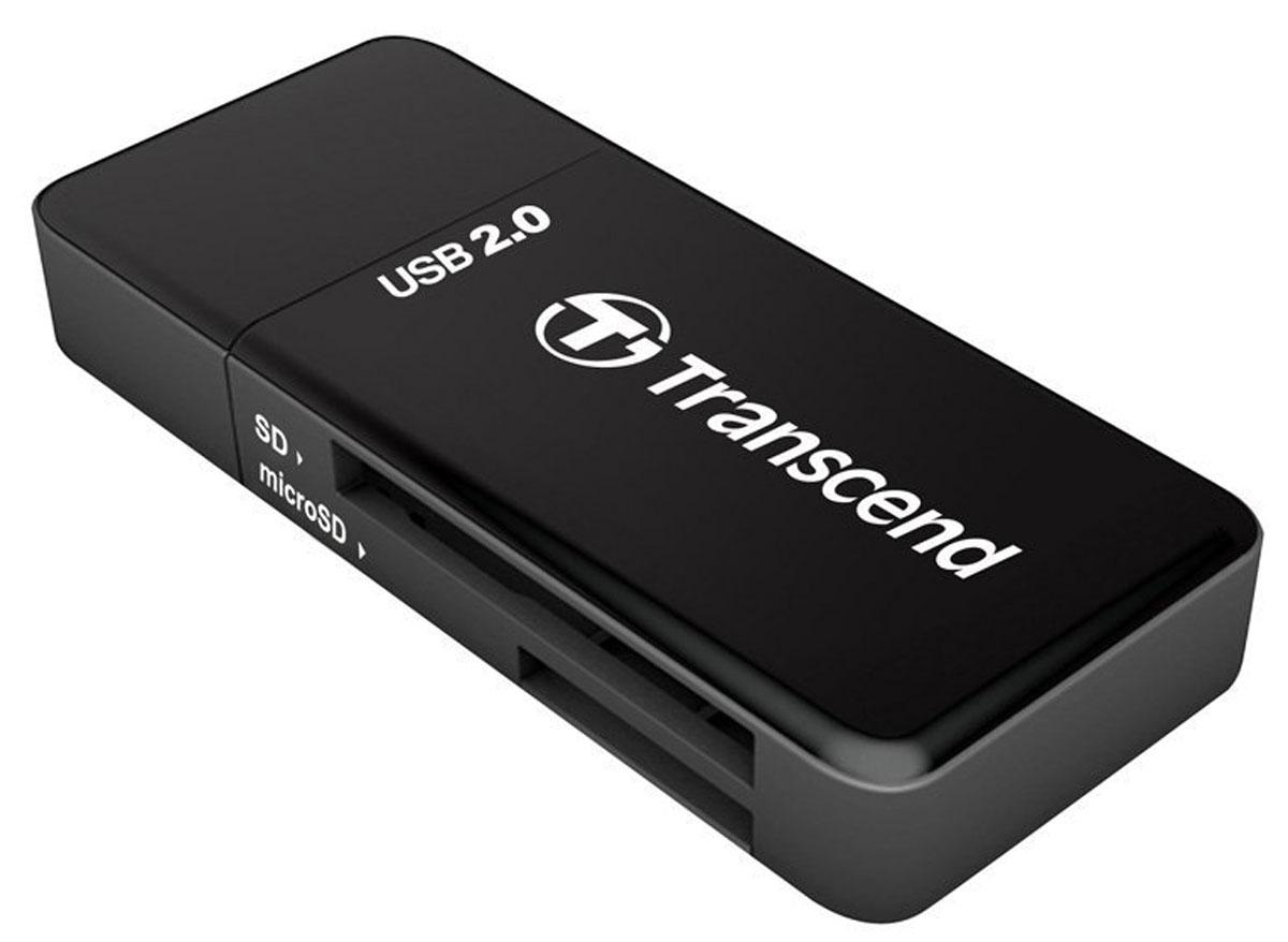 Transcend RDP5, Black картридерTS-RDP5KКартридер Transcend RDP5 создан, чтобы работать на высоких скоростях. Он оснащён интерфейсом USB 2.0 и поддерживает новое поколение карт памяти Ultra High Speed SDHC/SDXC, а также карты памяти microSDHC/SDXC. Картридер можно подключить к USB-порту любого настольного компьютера или ноутбука. Ультракомпактный RDP5 позволит делиться файлами в любой ситуации.
