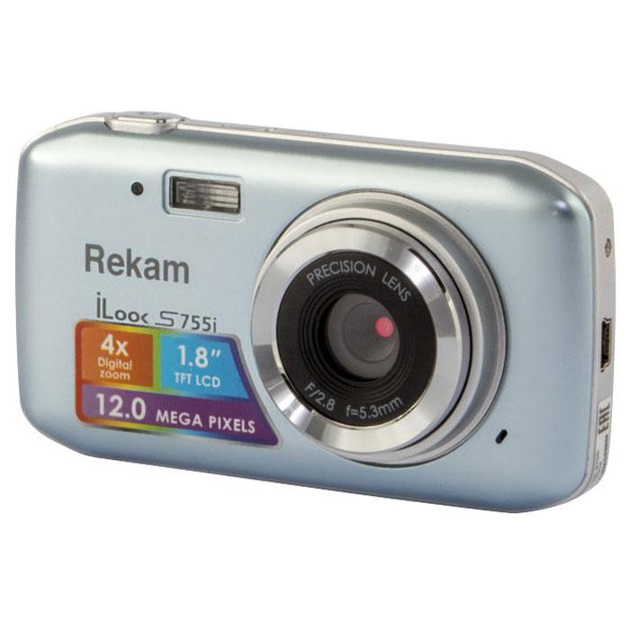 Rekam iLook S755i, Grey Silver цифровая фотокамера1108005122Rekam iLook S755i - это компактный цифровой фотоаппарат, созданный для сохранения памяти о самых ярких моментах жизни. Матрица CMOS обладает максимальным разрешением в 12 мегапикселей. Снимки, сделанные при помощи этой фотокамеры, идеальны для печати и редактирования. Rekam iLook S755i позволяет снимать видео в высоком разрешении и обладает всем необходимым для съемки в нормальных условиях. Фото сохраняются на карте памяти SD или MMC объемом до 32 Гб. Камера оборудована несколькими режимами настройки баланса белого, в том числе и автоматический. Цветной дисплей 1.8 позволит вам детально увидеть объект фото- или видеосъемки. Баланс белого: авто / солнечно / пасмурно / флуоресцент / вольфрам Апертура/фокус: F2.8, f=5.3mm; 1.5 - бесконечность Компенсация экспозиции: ±2.0EV ISO: авто Автоспуск: 2 с,10 с Вспышка: авто/принудительно/выкл. Зум: цифровой 4.0х