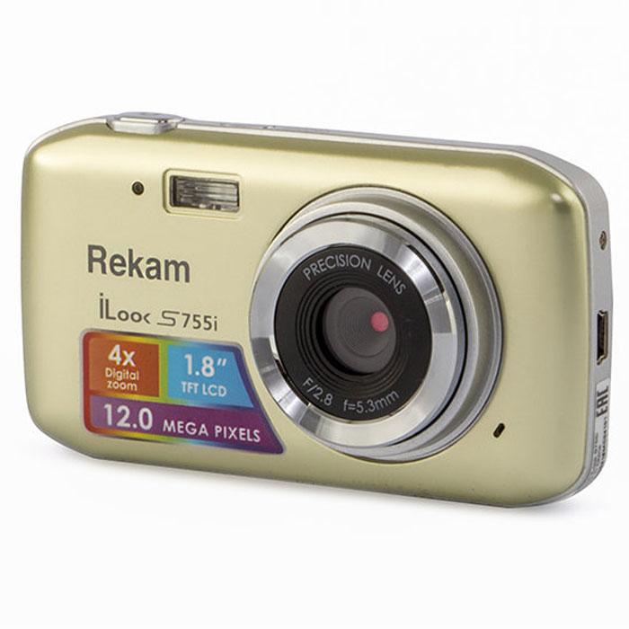 Rekam iLook S755i, Champagne цифровая фотокамера1108005123Rekam iLook S755i - это компактный цифровой фотоаппарат, созданный для сохранения памяти о самых ярких моментах жизни. Матрица CMOS обладает максимальным разрешением в 12 мегапикселей. Снимки, сделанные при помощи этой фотокамеры, идеальны для печати и редактирования. Rekam iLook S755i позволяет снимать видео в высоком разрешении и обладает всем необходимым для съемки в нормальных условиях. Фото сохраняются на карте памяти SD или MMC объемом до 32 Гб. Камера оборудована несколькими режимами настройки баланса белого, в том числе и автоматический. Цветной дисплей 1.8 позволит вам детально увидеть объект фото- или видеосъемки.Баланс белого: авто / солнечно / пасмурно / флуоресцент / вольфрамАпертура/фокус: F2.8, f=5.3mm; 1.5 - бесконечностьКомпенсация экспозиции: ±2.0EVISO: автоАвтоспуск: 2 с,10 сВспышка: авто/принудительно/выкл.Зум: цифровой 4.0х