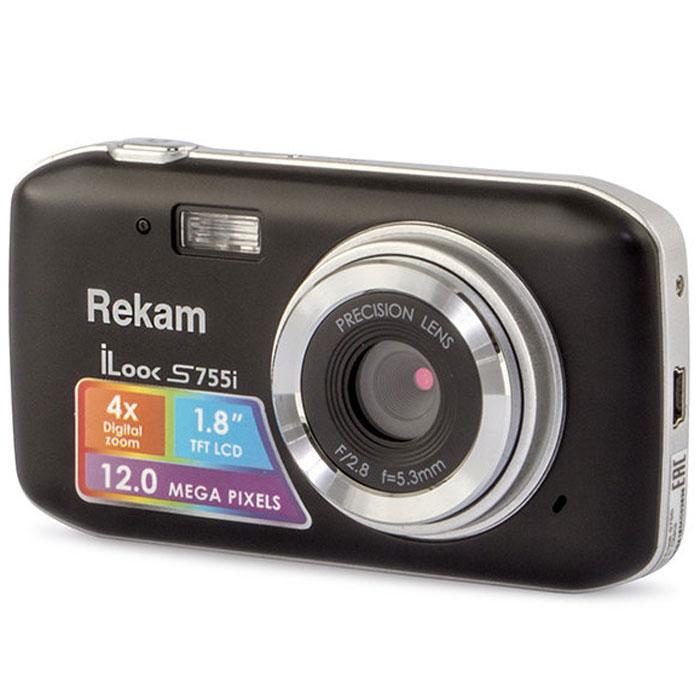 Rekam iLook S755i, Black цифровая фотокамера1108005121Rekam iLook S755i - это компактный цифровой фотоаппарат, созданный для сохранения памяти о самых ярких моментах жизни. Матрица CMOS обладает максимальным разрешением в 12 мегапикселей. Снимки, сделанные при помощи этой фотокамеры, идеальны для печати и редактирования. Rekam iLook S755i позволяет снимать видео в высоком разрешении и обладает всем необходимым для съемки в нормальных условиях. Фото сохраняются на карте памяти SD или MMC объемом до 32 Гб. Камера оборудована несколькими режимами настройки баланса белого, в том числе и автоматический. Цветной дисплей 1.8 позволит вам детально увидеть объект фото- или видеосъемки. Баланс белого: авто / солнечно / пасмурно / флуоресцент / вольфрам Апертура/фокус: F2.8, f=5.3mm; 1.5 - бесконечность Компенсация экспозиции: ±2.0EV ISO: авто Автоспуск: 2 с,10 с Вспышка: авто/принудительно/выкл. Зум: цифровой 4.0х