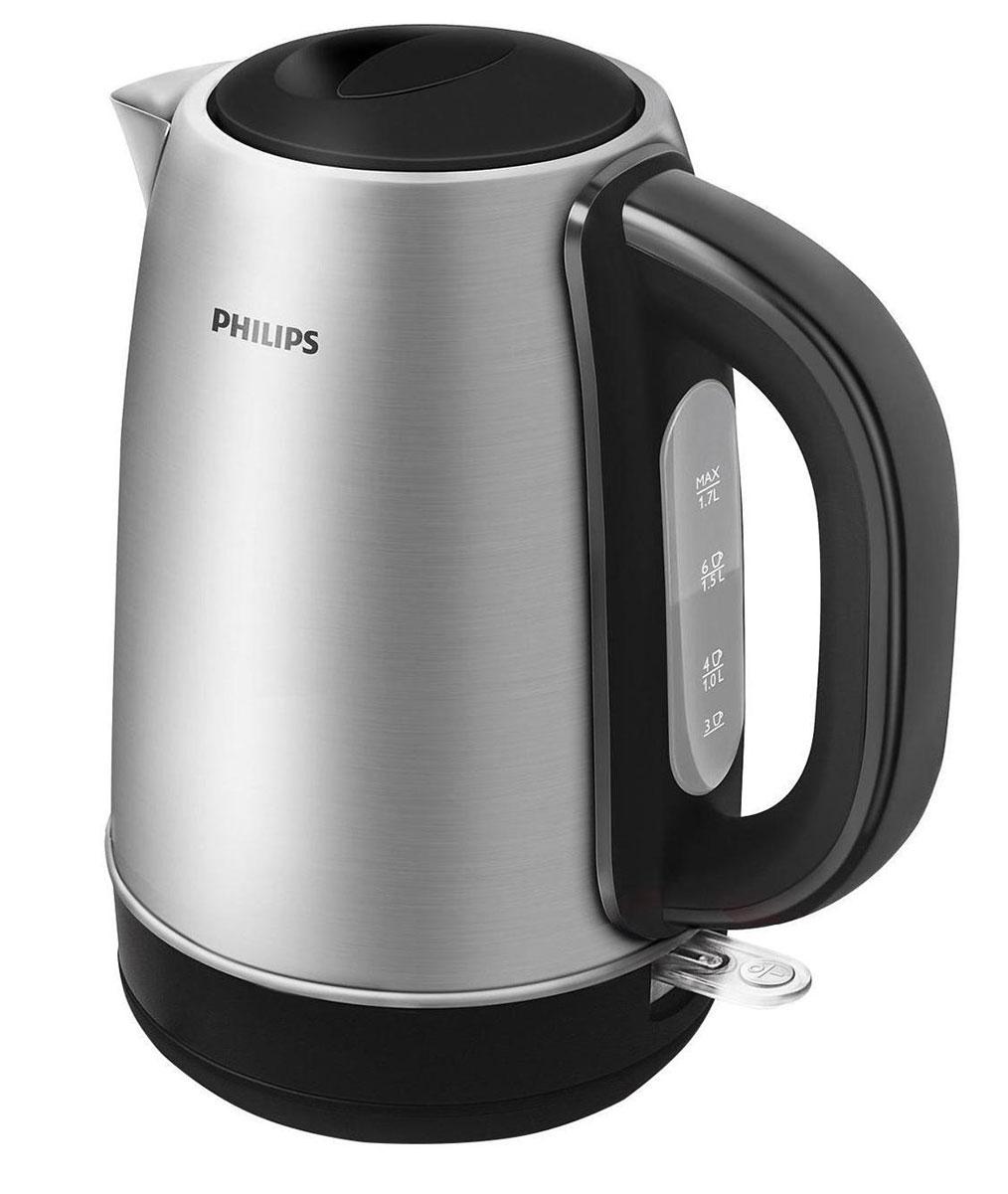 Philips HD9320/21 электрочайникHD9320/21Для прочного металлического электрического чайника Philips HD9320 предусмотрен плоский и удобный в очистке нагревательный элемент, который позволяет вскипятить воду за считаные секунды. Прочный чайник с полированным корпусом из нержавеющей стали Прочный металлический чайник с корпусом из полированной нержавеющей стали отличается долгим сроком службы. Когда чайник включен, загорается подсветка Элегантная подсветка кнопки включения/выключения уведомляет о процессе нагрева воды. Фильтр от накипи обеспечивает чистоту воды и чайника Катушка для удобного хранения шнура Шнур оборачивается вокруг основания, что позволяет легко разместить чайник на кухне. Беспроводная подставка с поворотом на 360° для удобства использования. Понятный индикатор уровня воды Удобное наполнение через носик/крышку Наполнить чайник можно через носик или открыв крышку. Крышка открывается вручную,...