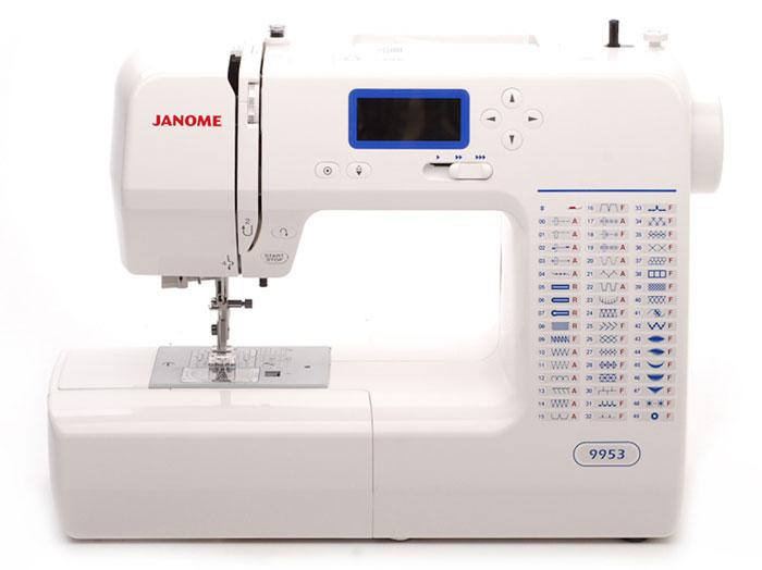 Janome 9953 швейная машина9953Швейная машина JANOME 9953 отвечает требования самой взыскательной рукодельницы. Выполняет 53 операции, из которых 14 рабочих и 7 эластичных строчек. Предусмотрен большой выбор декоративных строчек. 27 видов строчек позволит вам украсить любое ваше швейное изделие, а возможность шитья двойной иглой предоставляет вам неограниченные возможности для творчества. Для удобства использования производителями предусмотрены ЖК-дисплей с информации о выбранной строчке и такие функции, как реверс, регулятор скорости шитья и автоматическое закрепление нити. Возможно отключить механизм подачи ткани, а также при необходимости шить без педали. Автоматический нитевдеватель максимально упростит подготовку машины к работе. В комплектацию входят универсальная лапка для выполнения зиг-зага, для вшивания молнии и для выполнения петель. Выполнение петель в автоматическом режиме позволит вам выметать петлю за считанные минуты и под любую пуговицу. Максимальная высота подъема лапки (11 мм) позволит прошивать толстые ткани или ткани в несколько слоев, а электронный регулятор прокола иглы даст возможность работать с достаточно грубыми тканями.