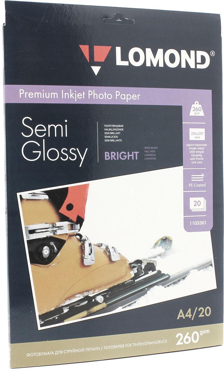 Lomond Semi Glossy Bright 260/A4/20л полуглянцевая ярко-белая1103301Полуглянцевая (Semi Glossy) микропористая фотобумага Lomond для струйной печати.Микропористое покрытие обеспечивает столь же высокое качество печати, как и традиционная фотография. Себестоимость отпечатков на бумаге Lomond Premium Photo c использованием картриджей Lomond - ниже, чем стоимость отпечатков, получаемых по традиционной технологии с использованием химических реактивов. Благодаря полиэстеровому покрытию бумажной основы бумага Lomond Premium Photo совершенно не подвержена короблению после прохода через принтер даже при самой интенсивной заливке чернилами.Модификация Semi Glossy занимает промежуточное положение между микропористыми бумагами, имитирующими матовую поверхность и бумагами с высоким глянцем.