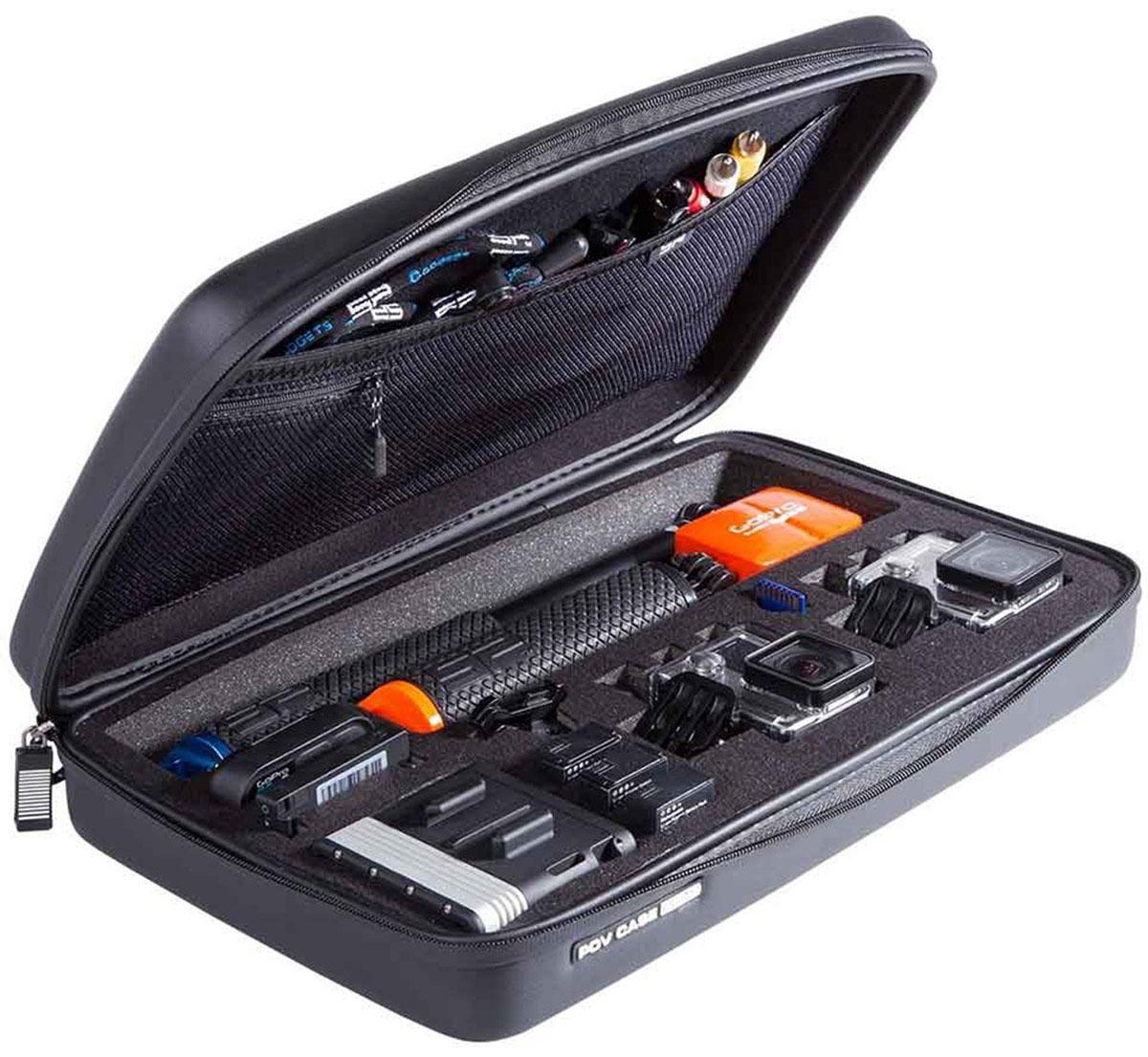 SP-Gadgets POV Case Elite, Black кейс для экшн-камеры52091Эргономичный и легкий, SP-Gadgets POV Case Elite сохранит все необходимое для съемки - камеру и аксессуары, а также надежно защитит вашу камеру от пыли, влаги, ударов, царапин. Компактность кейса облегчает его транспортировку. Подходит для всех камер GoPro Hero. В кейс помещается:Любая камера GoPro HERO1 аккумуляторLCD Bac Pac + камера + боксLCD/Wi-Fi/ Battery Bac PacSD memory cardGoPro Wi-Fi пультПоплавок на заднюю крышкуБольшой врезной отсек под штатив 19 смКабель и прочие аксессуарыМатериал подкладки: велюр