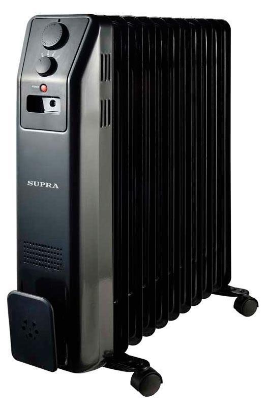 Supra ORS-11-SN, Black масляный радиаторORS-11-SN blackрадиатор маслонаполненный, 11 секций, 2.2 кВт, регулируемый термостат, уровни мощности 1000/1200/2200, защита от перегрева, индицация, отсек для хранения шнура