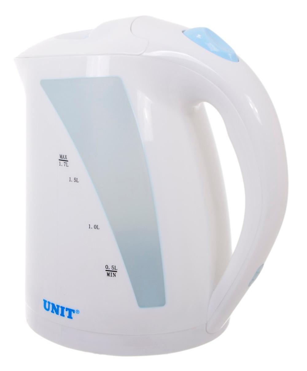 Unit UEK-244, White электрический чайникUEK-244 белыйЧайник оснащен защитой от сгорания — если в чайнике не будет воды, он не начнет свою работу. После закипания воды, чайник автоматически выключается.