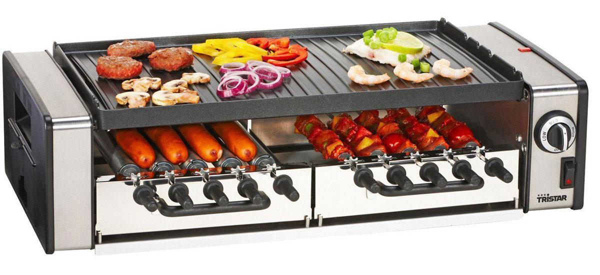 Tristar RA-2993 гриль-шашлычницаRA-2993Гриль-шашлычница Tristar RA-2993 предназначена для больших компаний. Компактные размеры прибора позволяют разместить его даже на небольшой кухне, а рассчитан он на приготовления блюд на гриле на 10 человек. Для приготовления вкусного мяса предусмотрена специальная запатентованная шампурная система, а также система вращения. Вы можете одновременного готовить мясо, рыбу и овощи. В набор также входят лоток для жира и руководство пользователя. Готовка на 10 персон Двусторонняя гладкая/ребристая пластина гриля Пластина для гриля из литого под давлением алюминия Съемные пластины Антипригарное покрытие Регулируемый термостат Система стока жира Нескользящие ножки 2 съемных поддона