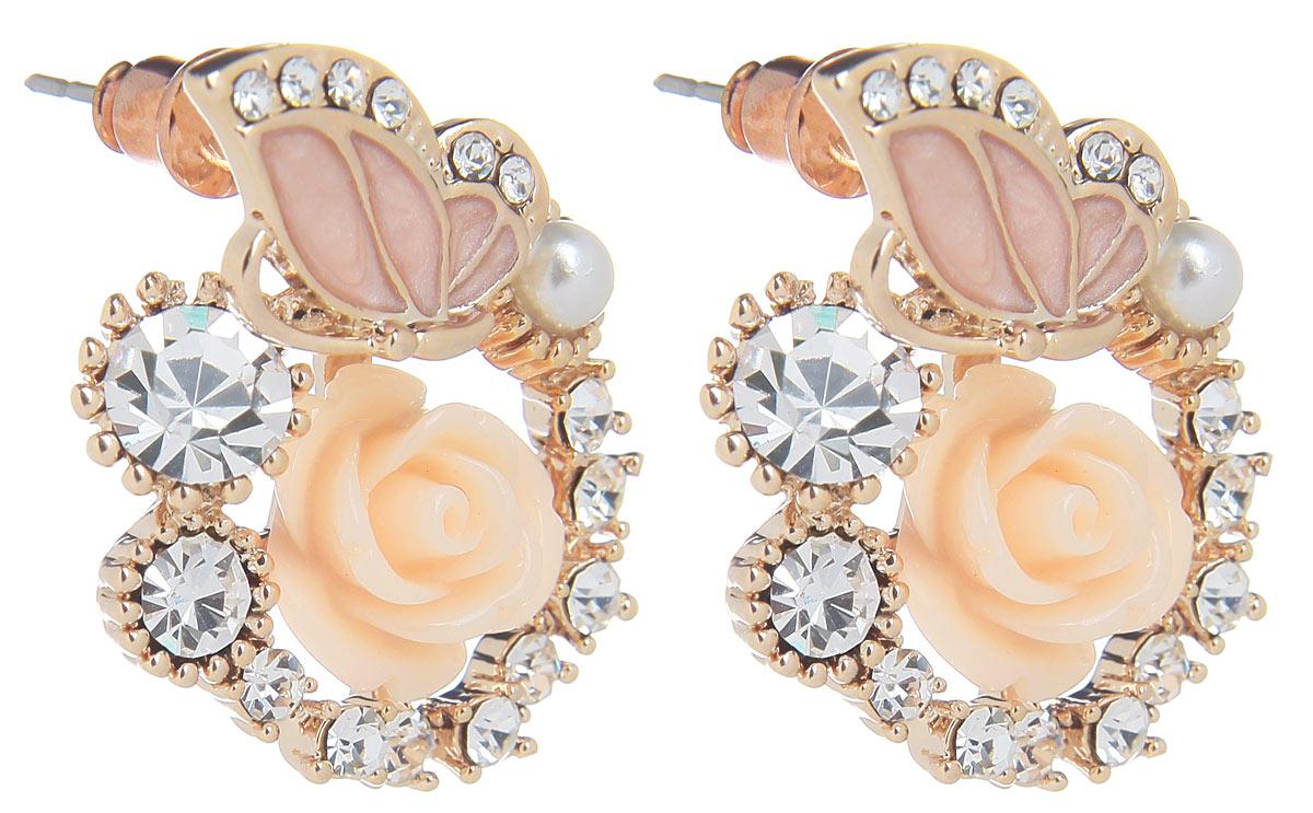 Серьги Fashion House, цвет: розовый, золотой. FH31909FH31909Оригинальные серьги Fashion House, выполненные из металла с золотистым покрытием в виде композиции из розы и бабочки, инкрустированной вставкой из пластика и стразами. Серьги застегиваются на стоплер. Изящные серьги придадут вашему образу изюминку, подчеркнут красоту и изящество вечернего платья или преобразят повседневный наряд. Такие серьги позволит вам с легкостью воплотить самую смелую фантазию и создать собственный, неповторимый образ.