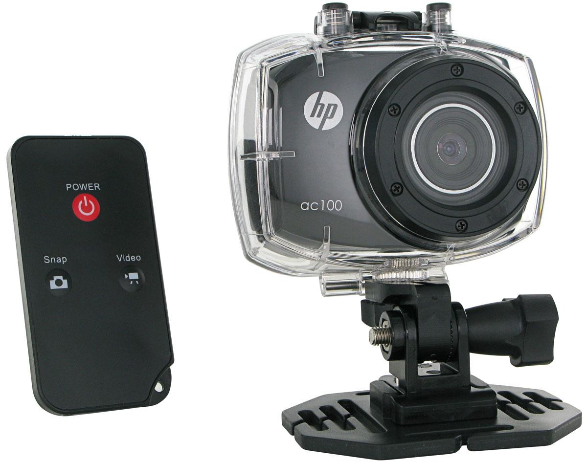 HP ac100 экшн-камера2671001210Экшн-камера HP ac100 идеально подходит для съемки в нестандартных условиях, например, под водой или в воздухе. Камера работает в двух режимах: фото и видео. Запись видео в формате FullHD обеспечивает естественную, четкую и качественную передачу картинки. HP ac100оснащена цветным 2,4-дюймовым дисплеем, позволяющим управлять видеоматериалом и настройками камеры. В комплекте с устройством вы найдете набор креплений и пульт ДУ.
