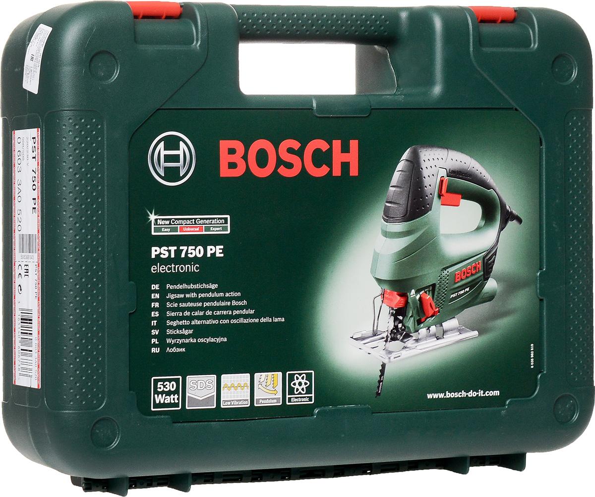 Электролобзик Bosch PST 750 PE 06033A052006033A0520Лобзик Bosch PST 750 PE (06033A0520) с 4-ступенчатым маятниковым ходом предназначен для прямых и фигурных резов различных материалов. Замена пилки происходит без помощи дополнительного инструмента. Система Low Vibration снижает уровень вибрации, передаваемой на рукоятку - для комфортной длительной работы. Точные пропилы и предотвращение перелома режущего инструмента благодаря опорному ролику. Функция сдува опилок обеспечит видимость линии реза, а подключение к пылесосу – чистоту процесса. Кейс в комплекте.