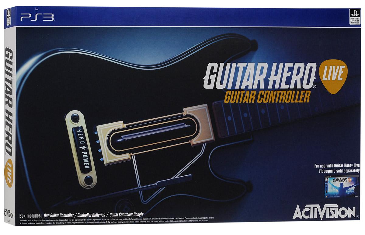 Guitar Hero Live Controller PS3. ГитараCBG 910Игровой контроллер-гитара Guitar Hero Live Controller полностью отражает новый стиль и реалистичность игры Guitar Hero Live. На грифе гитары расположено два ряда по 3 кнопки в каждом, что обеспечивает расширенные возможности при воспроизведении аккордов. Также предусмотрено три уровня использования возможностей контроллера: для начинающих, обычных и опытных игроков. Классическая форма гитары поможет вам показать свой талант во время игры! Если вы новичок, тогда можете использовать во время игры только три кнопки! Вы мастер Guitar Hero - тогда игра предоставит серьезные испытания для ваших пальцев! Кнопка GHTV (игровая музыкальная видеосеть) позволяет перейти прямо в GHTV из любой игры. Играя в режиме GH Live, игрок будет выступать на сцене и видеть толпу зрителей от первого лица, в зависимости от мастерства исполнения, купаться в аплодисментах или видеть их недовольство Вы можете играть под сотни музыкальных видеоклипов из обширной библиотеки GHTV...