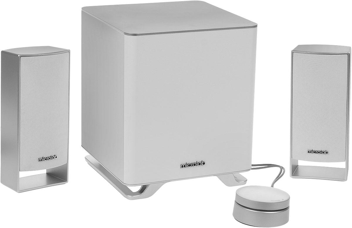 Microlab M-600 2.1, White акустическая системаM-600 2.1Microlab M-600 2.1 - современная акустическая система 2.1 с сабвуфером. Она создана для качественного воспроизведения аудиоконтента: музыки, фильмов, игр и других задач. Отдельный сабвуфер создает глубокий и насыщенный звук на низких частотах. Колонки с качественными динамиками обеспечивают сбалансированное и чистое звучание. Именно поэтому Microlab М-600 - это настоящий центр музыки в вашем пространстве. Система совместима с любыми мультимедийными приложениями. Имеется возможность подключения к смартфону, планшету, МРЗ, CD/DVD- проигрывателю, ЖК-ТВ, ПК или ноутбуку. Слушайте вашу любимую музыку в формате МРЗ, наслаждаясь всеми красками и глубиной звука. Регулировка громкости и низких частот находится на выносном пульте-панели для комфортного использования системы. Особенности: Специально разработанные корпуса сабвуфера и колонок с диффузорами для глубокого и насыщенного звука Проводной пульт дистанционного управления с плавной...