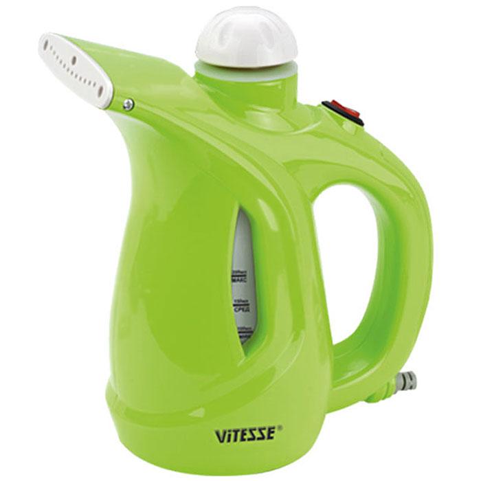 Vitesse VS-695, Green ручной отпаривательVS-695_зеленыйКомпактный ручной отпариватель Vitesse VS-695 подойдет для обработки одежды, штор и других текстильных вещей. Vitesse VS-695 может работать в двух режимах интенсивности пара. Отпариватель не просто разглаживает вещи, но еще и очищает от пыли и шерсти, а также производит дезинфекцию.