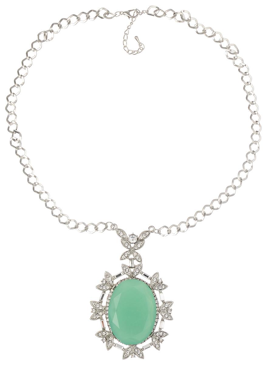 Колье Fashion House, цвет: серебряный, мятный. FH32216