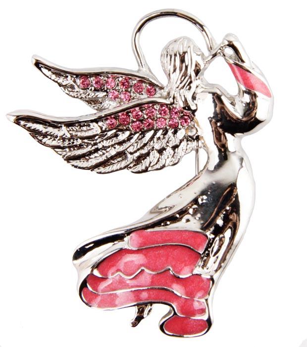 Брошь Рождественский ангел. Бижутерный сплав, эмаль, кристаллы. Гонконг, конец ХХ векаАжурная брошьБрошь Рождественский ангел. Бижутерный сплав, эмаль, кристаллы.Гонконг, конец ХХ века.Размер: 4,5 х 5,5 см.Сохранность хорошая.Очаровательная брошка в виде ангела.Выполненная из ювелирного сплава серебристого оттенка, она включает в себя розовые кристаллы и эмаль.Брошь чудесно дополнит ваш образ. Очаровательный ангелочек украсит повседневную одежду!