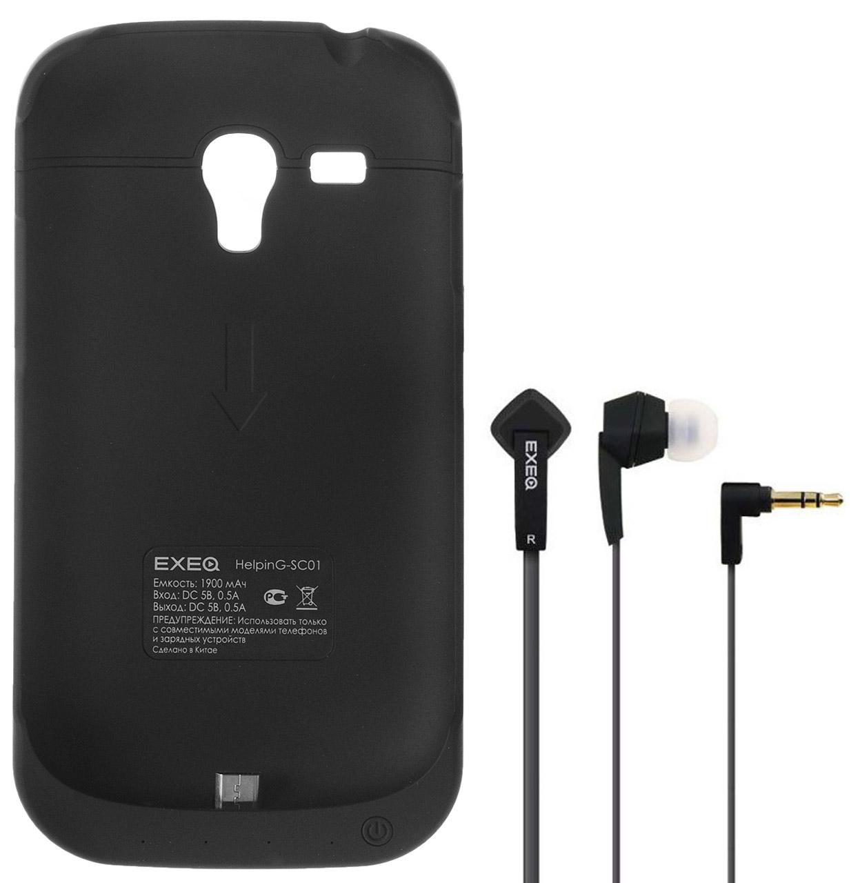 EXEQ HelpinG-SC01 чехол-аккумулятор для Samsung Galaxy S3 mini, Black (1900 мАч, клип-кейс)HelpinG-SC01 BLExeq HelpinG-SС01 – компактный чехол-аккумулятор для Samsung Galaxy S3 Mini. Дополнительный аккумулятор емкостью в 1900 мАч позволит повысить работоспособность вашего смартфона как минимум вдвое. Защитный чехол Exeq HelpinG-SС01 обеспечит надежную защиту смартфона от царапин, острых предметов и прочих внешних воздействий. Компактные размеры чехла и лаконичный дизайн позволят не только удобно и быстро поместить смартфон в чехол, но и совсем незначительно увеличат размеры и вес самого смартфона. Exeq HelpinG-SС01 станет просто великолепным аксессуаром для активных пользователей Samsung Galaxy S3 Mini, а также для тех, кто много времени проводит в дороге или собирается на отдых. Зарядка чехла-аккумулятора EXEQ HelpinG-SC01 происходит от зарядного устройства телефона, при этом аппарат из чехла доставать не нужно. Достаточно просто подсоединить зарядное к чехлу и зарядка начнется автоматически. Для зарядки телефона необходимо подсоединить зарядное устройство к чехлу и нажать на...