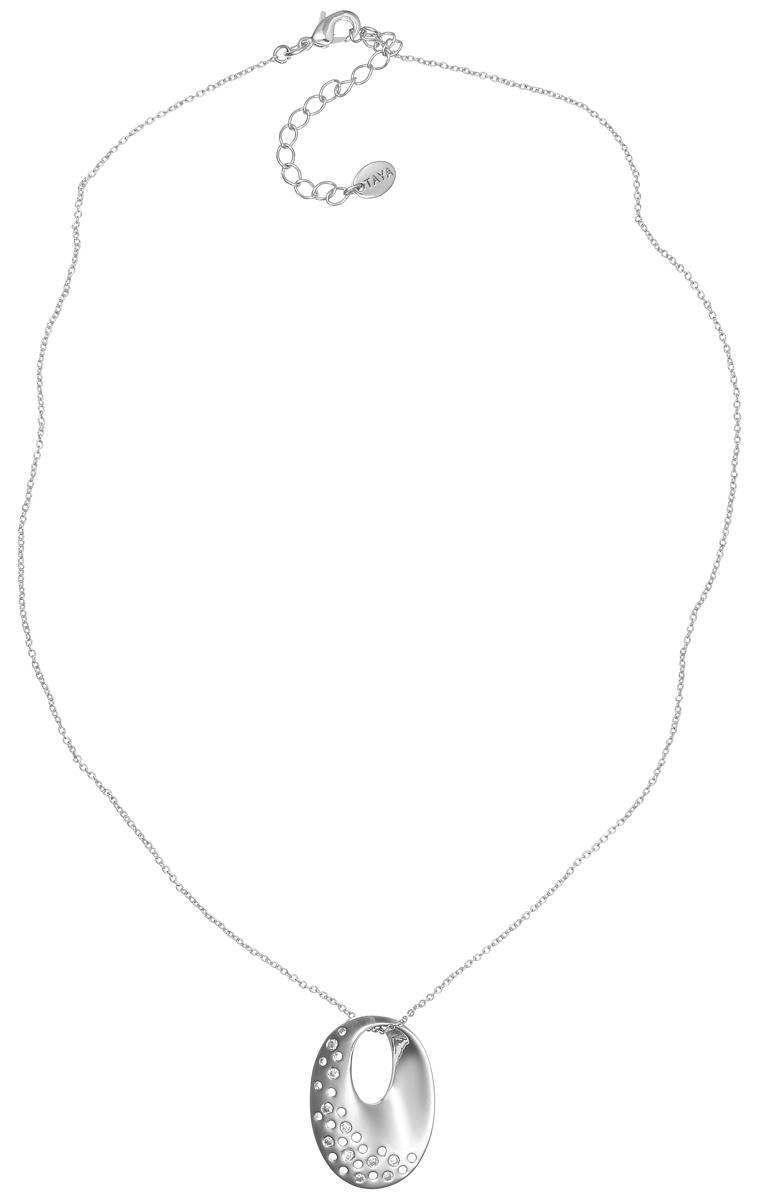 Колье Taya, цвет: серебристый. T-B-4797T-B-4797-NECK-RHODIUMЭлегантное колье Taya выполнено из бижутерийного сплава с гальваническим покрытием родием. Колье дополнено подвеской оригинальной формы, которая оформлена стеклянными стразами. Колье застегивается на практичный замок-карабин, длина изделия регулируется за счет дополнительных звеньев. Колье Taya выгодно подчеркнет изящество, женственность и красоту своей обладательницы.