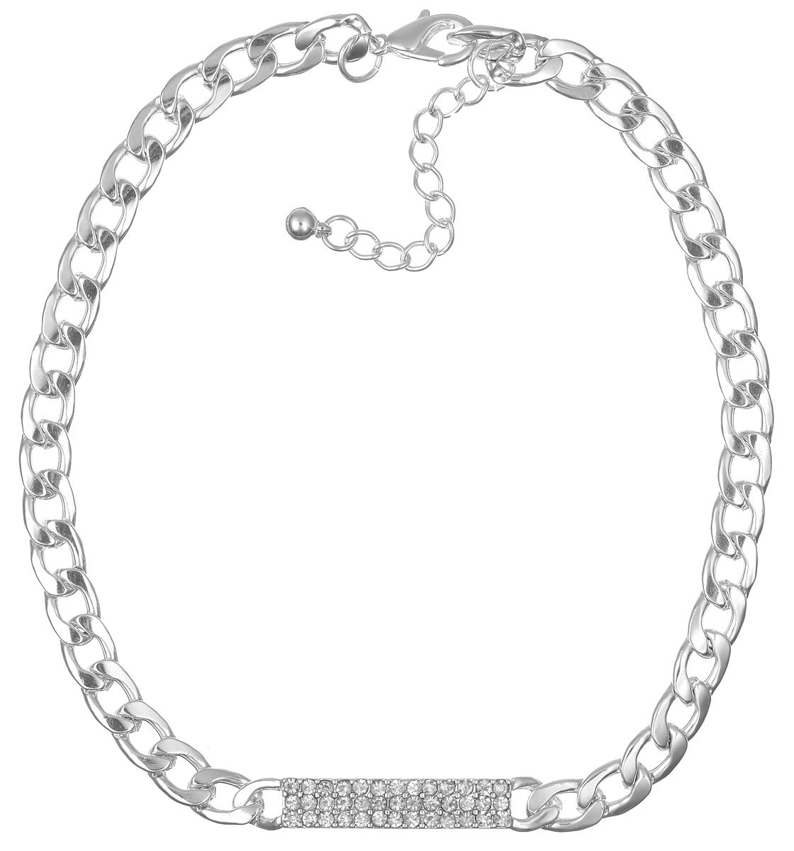 Колье Taya, цвет: серебристый. T-B-5630Ожерелье (короткие многоярусные бусы)Элегантное колье Taya выполнено из бижутерийного сплава в виде широкой цепочки. Центральная часть колье дополнена декоративным прямоугольным элементом, который оформлен стразами из стекла.Колье застегивается на практичный замок-карабин, длина изделия регулируется за счет дополнительных звеньев.Колье Taya выгодно подчеркнет изящество, женственность и красоту своей обладательницы.