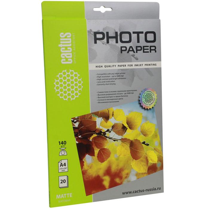 Cactus CS-MA414020 матовая фотобумагаCS-MA414020Cactus CS-MA414020 - фотобумага для высококачественной печати с матовым покрытием поверхности. Бумага обеспечивает насыщенные цвета, мгновенное высыхание чернил, долговечность отпечатков. Совместима как с пигментными, так и с водорастворимыми чернилами.