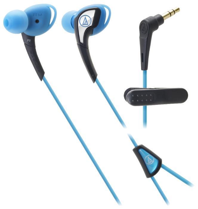 Audio-Technica ATH-SPORT2, Blue наушникиATH-SPORT2 BLAudio-Technica SPORT2 – наушники-вкладыши с традиционным дизайном чашек, подходящим для занятий спортом. Модель подходит тем спортсменам, кто предпочитает ношение солнечных очков во время тренировок. Силиконовый корпус подстраивается под индивидуальные особенности уха слушателя, мягкая легкая конструкция модели не вызывает дискомфорта длительное время, а 10-мм драйверы производят чистый насыщенный саунд. Все это превращает тренировку в настоящее наслаждение и приближает слушателя к вершинам спортивного мастерства. Влагозащита IXP5 выдерживает самые интенсивные занятия спортом, тренировки под дождем, а также чистку наушников под струей воды после очередной пробежки. Наушники для занятий спортом Гибкая силиконовая конструкция, удобное крепление Чистый насыщенный саунд Влагозащита уровня IXP5. Укороченный кабель с клипсой
