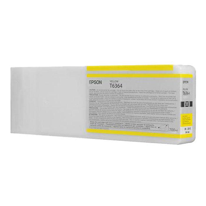 Epson T6364 (C13T636400), Yellow картридж для Stylus Pro 7900/9900C13T636400Картридж Epson T6364 для Stylus Pro 7900/9900 с желтыми чернилами предназначен для печати на глянцевых носителях. Он служит для печати превосходных фотоснимков и рассчитан на 700 мл.