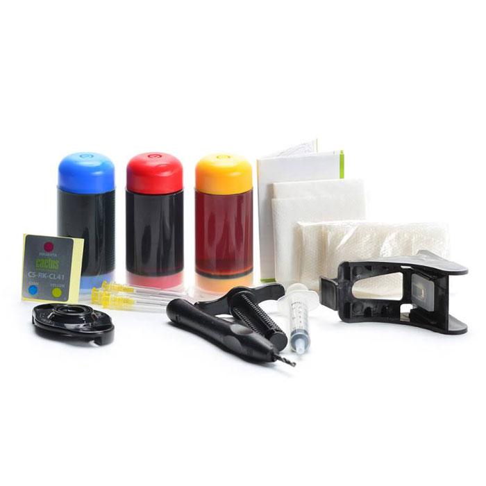 Cactus CS-RK-CL41, Color заправка для Canon MP150/ MP160/ MP170/ MP180/ MP210CS-RK-CL41Заправочный комплект Cactus CS-RK-CL41 для перезаправляемых картриджей Canon Pixma MP150/ MP160/ MP170/ MP180/ MP210/ MP220/ MP450/ MP460/ MP470; iP1200/ iP1600/ iP1700/ iP1800/ iP190. Расходные материалы Cactus для печати максимизируют характеристики принтера. Обеспечивают повышенную четкость изображения и плавность переходов оттенков и полутонов, позволяют отображать мельчайшие детали изображения. Обеспечивают надежное качество печати.
