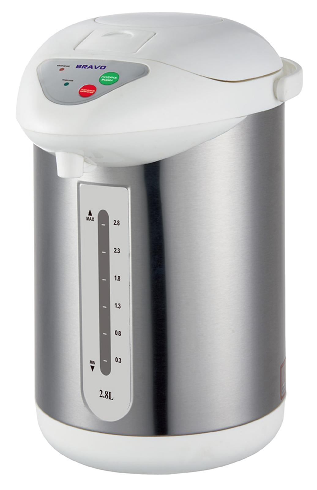 Bravo TL-28S термопот4627090740218Мощность: 700 Вт Объем: 2,8 л Поворот на 360гр Внутренняя емкость: нержавеющая сталь Функция повторного кипячения Подача воды: 3 способа(ручной/автоматический/нажатие чашкой) Внешний корпус: нержавеющая сталь Поддержание температуры Защита от включения без воды Шкала уровня воды