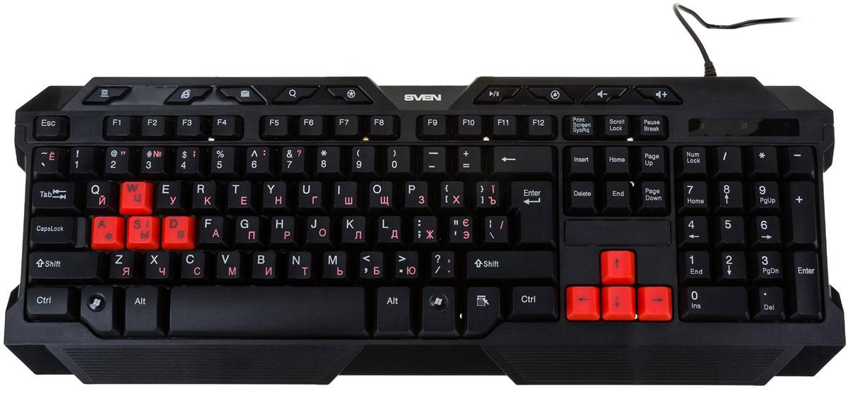 Sven Challenge 9700 игровая клавиатураSV-008369Основная раскладка игровой клавиатуры Sven Challenge 9700 выполнена из кнопок черного цвета. При этом устройство оснащено восемью красными клавишами, акцентирующими внимание пользователя на средствах управления в компьютерных играх. В комплекте предусмотрено 8 дополнительных клавиш черного цвета для замены красных. Тем, кто ценит высокую скорость и точность исполнения команд в компьютерных квестах, придутся по вкусу девять кнопок быстрого доступа к мультимедийным и интернет-приложениям, которые значительно ускоряют процесс работы в операционной системе. Эргономичный игровой дизайн придает устройству брутальности и позиционирует владельца Sven Challenge 9700 как любителя поохотиться на зомби или побегать на заброшенной военной базе где-нибудь в Южной Америке или Африке. Высококачественная мембрана 9 клавиш для быстрого вызова Мультимедиа, Интернет и офисных приложений Комфортный ход клавиш и пониженный уровень шума 8 дополнительных...