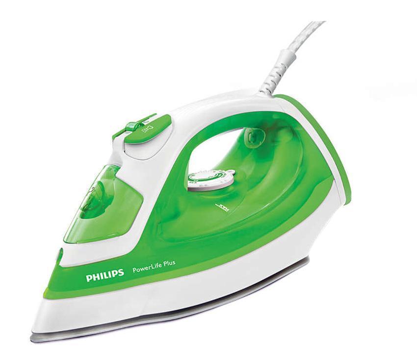 Philips PowerLife Plus GC2980/70, White Green утюгGC2980/70Паровой утюг Philips PowerLife Plus обеспечивает великолепные результаты глажения день за днем — превосходные характеристики благодаря новой подошве SteamGlide, постоянной мощной подаче пара, удобной функции очистки от накипи для оптимальной подачи пара надолго и подставке для дополнительной устойчивости в вертикальном положении. Подошва SteamGlide — идеальная подошва от Philips для вашего парового утюга. Идеально скользящая, легкоочищаемая поверхность, устойчивая к появлению царапин. тот паровой утюг Philips оснащен системой капля-стоп, поэтому вы сможете гладить даже деликатные ткани при низкой температуре, не беспокоясь о появлении пятен воды на одежды. Ползунок очистки от накипи упрощает удаление накипи из утюга. Для максимальной эффективности работы утюга Philips необходимо проводить очистку от накипи 1 раз в месяц. Этот мощный утюг быстро нагревается и поддерживает необходимую температуру во время глажения, что облегчает...