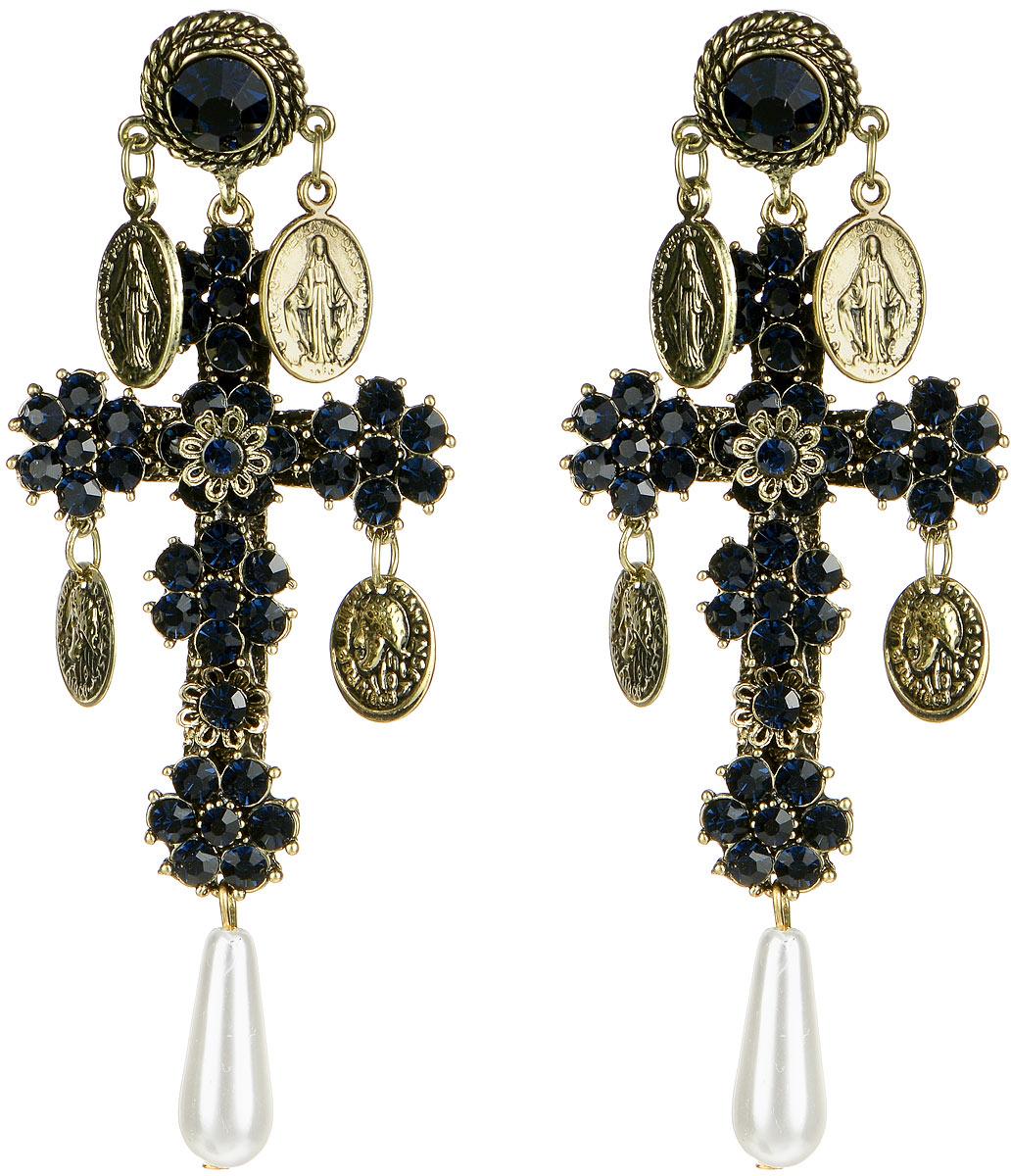 Серьги Taya, цвет: золотистый, темно-синий. T-B-10080T-B-10080-EARR-GL.D.BLUEВеликолепные серьги Taya изготовлены из металлического сплава. Серьги выполнены в виде крестов, украшенных стразами, подвесками из монет и продолговатыми бусинами. Серьги застегиваются на замок-гвоздик с пластиковыми заглушками. Такие серьги позволят вам с легкостью воплотить самую смелую фантазию и создать собственный, неповторимый образ.