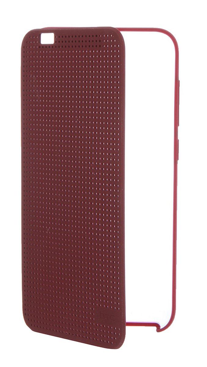 HTC HC M272 Dot View чехол для One A9, Dark Red99H11979-00HTC HC M272 Dot View - фирменный чехол-раскладушка для One A9 - позволяет пользователю взаимодействовать с телефоном, не открывая крышку аксессуара. Лицевая сторона чехла выполнена из перфорированного пластика, сквозь отверстия которого хорошо просматривается информация на главном экране. При надетом чехле смартфон распознает аксессуар и включает специальный режим отображения данных. Чехол позволяет принимать звонки, получать уведомления о входящих звонках и сообщениях, состоянии аккумулятора. Двойным постукиванием по поверхности HTC Dot View включается Motion Launch и позволяет включить и выключить индикацию времени и погоды. Если провести по чехлу сверху вниз, активируется голосовой поиск.