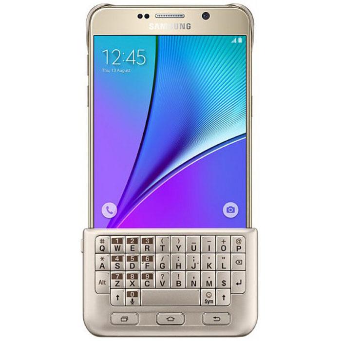 Samsung EJ-CN920 чехол-клавиатура для Galaxy Note 5, GoldEJ-CN920RFEGRUSamsung EJ-CN920 - удобный чехол с полноценной QWERTY-клавиатурой для вашего Samsung Galaxy Note 5. Откройте новый уровень комфорта при вводе текста. ПО смартфона самостоятельно подстраивает размер рабочей области экрана под клавиатуру. Нажатия клавиш распознаются гаджетом автоматически сразу после установки, что исключает необходимость беспроводного соединения. Чехол также обеспечивает свободный доступ ко всем разъемам и клавишам мобильного устройства. Он легко надевается и снимается, а в случае ненадобности крепится на тыльной панели смартфона.