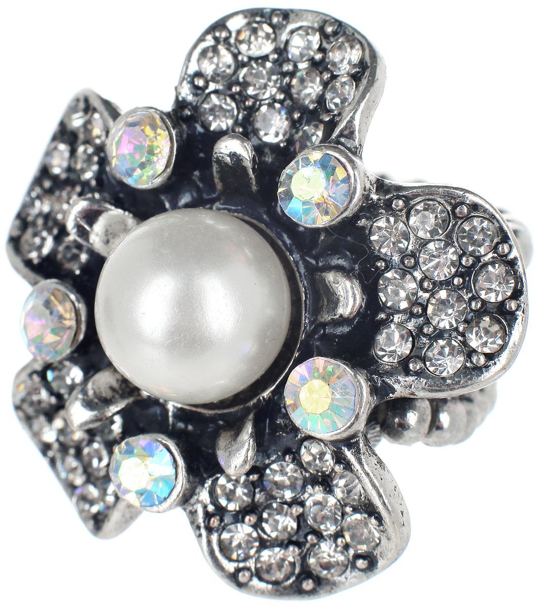 Кольцо Taya, цвет: серебристый, белый. T-B-733039864|Серьги с подвескамиСтильное кольцо Taya, выполненное из металлического сплава в форме цветка, оформлено бусиной и стразами. Элементы кольца соединены между собой при помощи тонкой резинки, благодаря которой изделие имеет универсальный размер. Его легко снимать и надевать.Такое кольцо внесет изюминку в любой образ и подчеркнет индивидуальность.