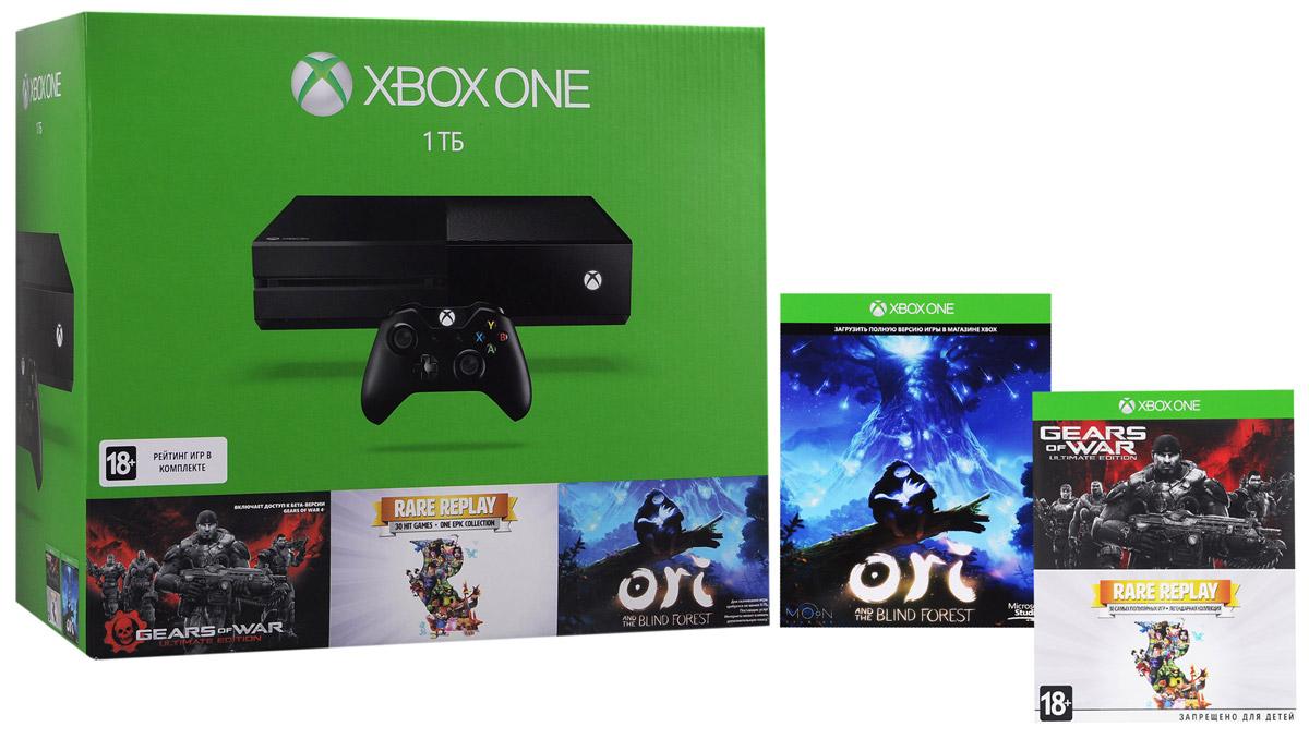 Игровая приставка Xbox One 1 ТБ + Rare Replay + Ori + Gears of WarKF7-00066Закажите этот комплект Xbox One и получите игры Gears of War: Ultimate Edition, Rare Replay и код на загрузку игры Ori and the Blind Forest. А благодаря жесткому диску объемом 1 ТБ вы сможете установить еще больше игр, в том числе свои игры для Xbox 360.Проживите события самой первой части игры Gears of War воссозданные с нуля в разрешении 1080р при 60 кадрах в секунду. Соревнуйтесь в многопользовательском режиме на 19 картах в шести различных режимах игры или пройдите 5 глав компании, никогда ранее не выходивших на консолях. А сыграв в Gears of War: Ultimate Edition в сети Xbox Live вы получите всю коллекцию Gears of War для Xbox 360 с возможностью запуска на Xbox One абсолютно бесплатно.Сыграйте в 30 легендарных игр от студии Rare, от Battletoads и Banjo-Kazooie до Perfect Dark и многих других. Также в комплекте идет игра Ori and the Blind Forest, получившая очень высокие отзывы от большинства критиков и игровых изданий. Насладитесь лучшей линейкой игр за всю историю Xbox среди которых эксклюзивы этого года - такие как Halo 5: Guardians, Ride of the Tomb Rider и Forza Motorsport 6. Новые функции и возможности добавляются постоянно - благодаря более чем 200 улучшениям с момента запуска сейчас самое время купить Xbox One!Ключевые особенностиПолучите всю коллекцию Gears of War для Xbox 360 с возможностью запуска на Xbox One абсолютно бесплатноЕдинственная консоль, на которой вы сможете сыграть в лучшие эксклюзивы этого года - такие как Halo 5: Guardians, Ride of the Tomb Rider и Forza Motorsport 6Наслаждайтесь самой продвинутой сетевой игрой в сервисе Xbox LiveМоментально переключайтесь между игрой, телевидением и приложениями, такими как ivi.ru или TwitchЗагружайте больше игр на свою консоль, включая игры для Xbox 360, благодаря вместительному жесткому диску объемом 1 ТБВключает геймпад с разъемом 3,5 мм - вы сможете напрямую подключить любую совместимую гарнитуру