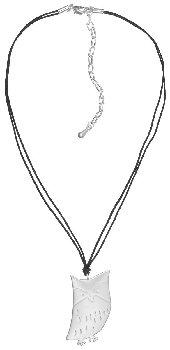 Колье Модные истории, цвет: серебряный. 12/0908/88812/0908/888Стильное колье Модные истории выполнено из бижутерийного сплава с гальваническим покрытием серебром и двойного вощеного шнура. Подвеска выполнена в виде забавного совенка. Изделие застегивается на практичный замок-карабин, длина колье регулируется с помощью дополнительных звеньев в цепочке. Оригинальное колье придаст вашему образу изюминку, подчеркнет индивидуальность.