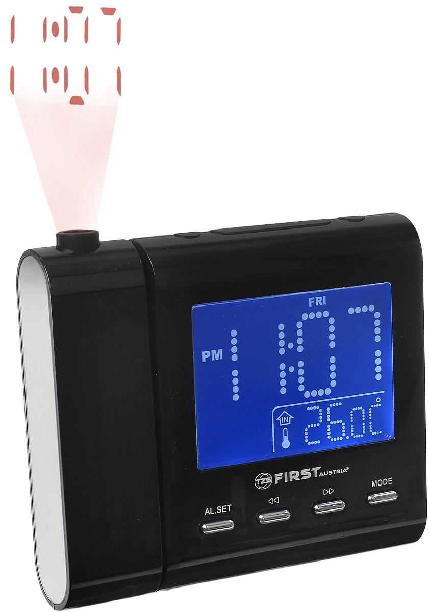 First FA-2421-1, Black радиочасы c проекторомFA-2421-1 BlackFirst FA-2421-1 - радиочасы с проектором и LED-дисплеем диагональю 1,2 дюйма. Устройство имеет кварцевый стабилизатор, а также различные дополнительные функции: календарь, контроль температуры, подъем под музыку или звонок. Встроенный проектор с настройкой фокуса может вращаться на 180°. Два будильника - еще одна полезная функция данной модели, которую можно отключать на выходные дни. Вы также можете активировать отложенный сигнал чтобы поспать еще немного времени. Будильник отключится и прозвенит через 9 минут. Линейный аудиовход 3,5 мм Таймер отключения 90 минут Резервное питание: 1 батарейка CR2032 (в комплект не входит)